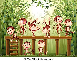 Scene with monkeys in the bamboo forest illustration