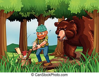 Bear and lumberjack chopping wood in the forest illustration...