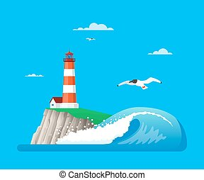Vector illustration of seascape with lighthouse in flat...