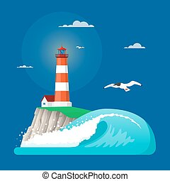 Vector illustration of lighthouse in flat style - Vector...