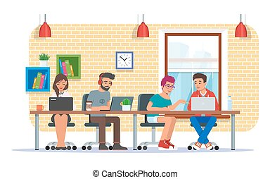 Coworking center vector illustration, flat style design -...