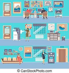 plano, estilo, Conjunto, oficina, moderno, vector, Espacio...