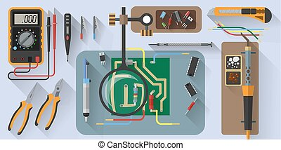 Vector tools set for soldering chips, flat design - Vector...
