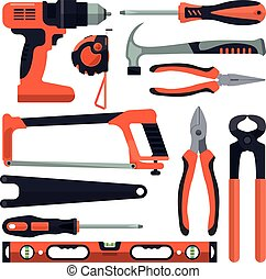 Vector set of building tools icons in flat style