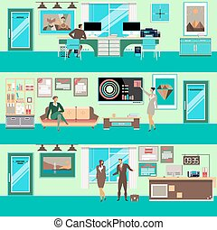 Vector modern office workspace set in flat style - Vector...