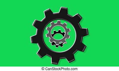 Rotate gears green screen - Rotate gears.Loopable...