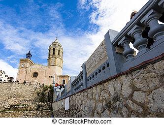 View of Iglesia de Sant Bartomeu i Santa Tecla. Sitges,...