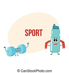 Funny dumbbell and protein shaker characters with smiling human faces