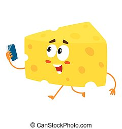 Cute and funny cheese chunk character holding smartphone