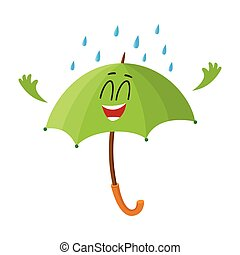 Funny green umbrella character with smiling human face under...