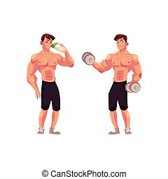 Man bodybuilder working out with dumbbells and drinking...