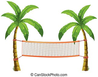 Volleyball net on coconut trees illustration