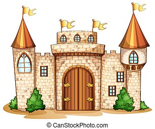 Castle towers with yellow flags illustration