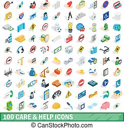 100 care and help icons set, isometric 3d style