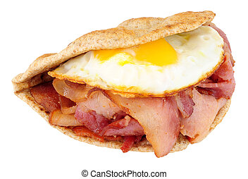 Fried Egg And Bacon Flatbread Sandwich - Fried egg and bacon...