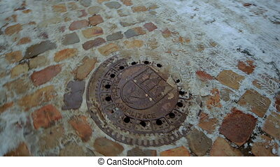 Manhole. Urban gutter. Metal. - Movie details Street and...