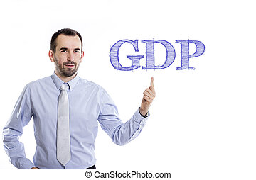 GDP - Young businessman with small beard pointing up in blue...
