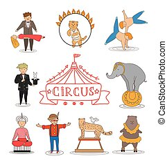 Circus line art design collection with carnival fun fair and...