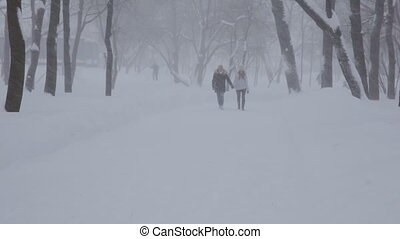 young couple couple walking in the winter park