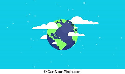 Flat style rotating earth and moving clouds seamless, loop.?...