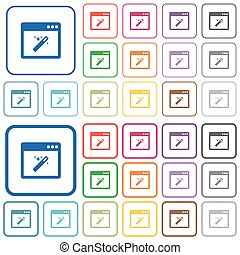 Application wizard outlined flat color icons