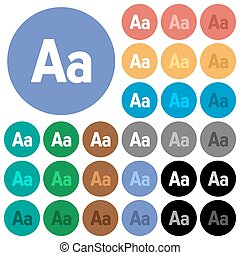 Font size round flat multi colored icons - Font size multi...