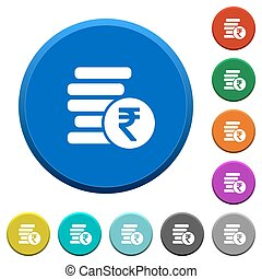 Indian Rupee coins beveled buttons - Indian Rupee coins...