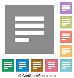 Text align justify last row left square flat icons - Text...