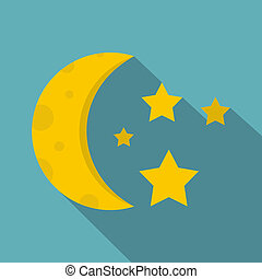 Night sky with stars and moon icon, flat style