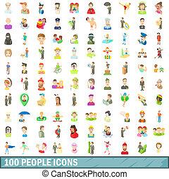 風格, 人們, 集合, 圖象,  100, 卡通