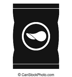 Chips plastic bag icon, simple style - Chips plastic bag...