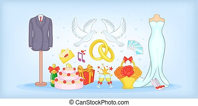 Wedding horizontal banner, cartoon style