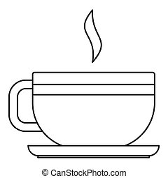 Tea cup icon, outline style - Tea cup icon. Outline...