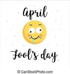 Smiling yellow face and color hopping letters phrase April fools day card, illustration