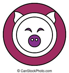 Flat color pig icon