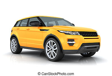 Range rover - Orange Range rover on white background