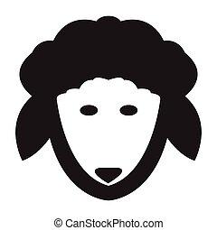 Flat black sheep icon