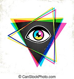 pypamid and eye. - Vintage pyramid with eye in 90's style....