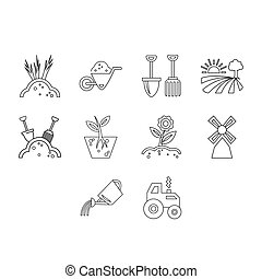 collection of agriculture icon set
