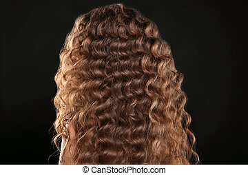 Healthy hair. Curly long hairstyle. Back view of Brown...