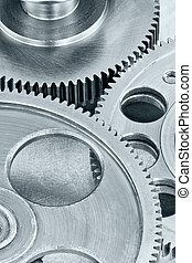 set of different industrial cogwheels on technology background