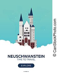 Germany. Neuschwanstein. Time to travel. Travel poster....