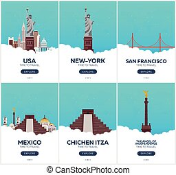 USA, Mexico. Time to travel. Set of Travel posters. Vector flat illustration.