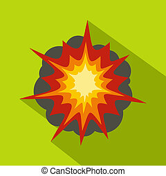 Fire explosion icon, flat style - Fire explosion icon. Flat...