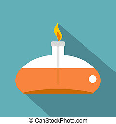 Chemical alcohol burner icon, flat style - Chemical alcohol...