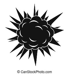 Terrible explosion icon, simple style - Terrible explosion...