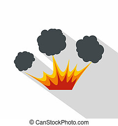 Explosion icon, flat style - Explosion icon. Flat...