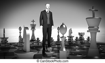 Businessman with chess board. Brainstorming concept 3d rendering