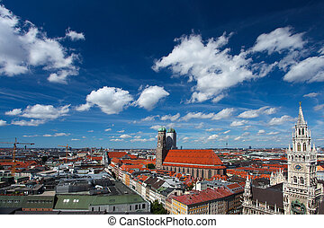 Munich, bavaria, germany. Red roofs and blue sky