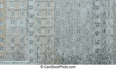 Heavy snowstorm in the city